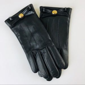 Coach Turnlock bow leather gloves black size 6 1/2